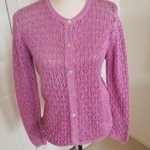 Saks Fifth Ave. Petite Pink Cardigan Sweater